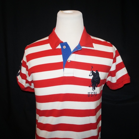 Polo Assn U.S Mens Blue with White and Red Stripe